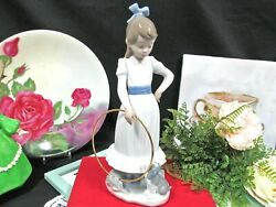 """Nao By Lladro Daisa 1982 Porcelain Girl With Dog And Metal Hoop 10"""" Tall"""