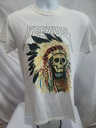 2013 Yeezus Native American Skull Themed Concert Tour Used T-shirt Size Smallandnbsp