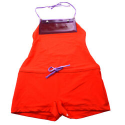 00t 38 Halter Neck All In One Swimwear Swimsuit Pants Red 05752