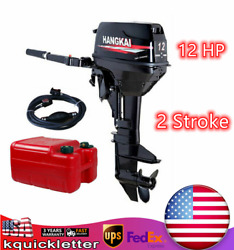 Hangkai 2 Stroke 12 Hp Outboard Motor Fishing Boat Engine With Cdi Water Cooling