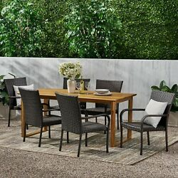 Conifer Outdoor Acacia Wood And Wicker 7 Piece Dining Set