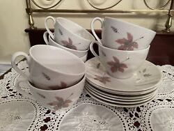 Royal Doulton Tumbling Leaves Cups And Saucers Demitasse Set Of 7 Euc