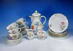 Meissen Flower 3 And 4 Coffee Service For 6 People