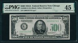 1934a 500 Five Hundred Dollar Bill Currency Cash Note Money Pmg Ef 45