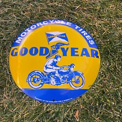 """Vintage Goodyear Motorcycle Tires Porcelain Metal Gas And Oil 12"""" Button Shop Sign"""