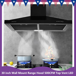 30 Inch Wall Mount Kitchen Range Hood Stainless Steel 500cfm Top Vent Black New