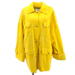 00695 40 Cc Button Single Breasted Long Sleeve Coat Jacket Yellow 62982
