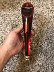 """Michelob Ultra Amber Red Lucite Light Beer Tap Handle 12"""" Tall Keg Man Cave"""