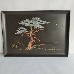 Mcm Couroc Of Monterey Ca. Inlaid Tray Monterey Cypress Signed S.f.p. Morse
