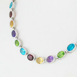 Necklace Handmade Multicolour - Approx. 44 Ct - 925 Silver - 1.1oz - 18 1/8in