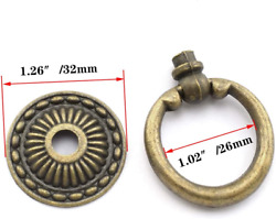 Dttra 6pcs Antique Bronze Knobs Pulls Handles Drawer Ring Single Hole Decorative