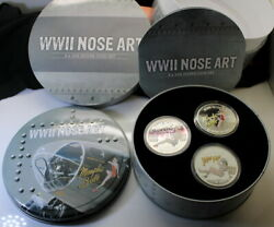 Rare 2012 Set Of 3 Wwii Sexy Bomber Girls .999 Silver 1 Oz Proof Coins Coa And Ogp