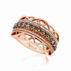 Levian Ring Band Chocolate And White Diamond In 14k Rose Gold 7/8cts