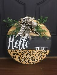Wooden Front Door Welcome Sign Wreath Farmhouse Front Porch Decor