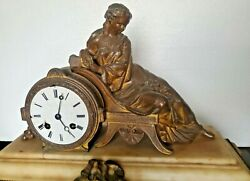Antique Ornate Ansonia Mantle Clock Brass Marble