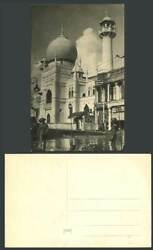Singapore Old Real Photo Postcard MALAY MOSQUE Soldier Street Scene amp; SLOW Sign