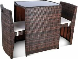 3pcs Patio Wicker Furniture Outdoor Rattan Cushioned Chairs Lawn Sofa Set Table