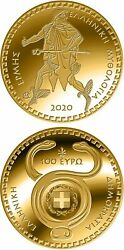 Gold Coin, Greece, 2020, Proof, Hermes, Mercury, God Of Trade, 100 Euro Coin
