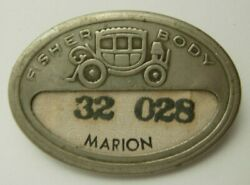 Fisher Body Worker Id Badge - Marion Indiana Plant - General Motors. Pb