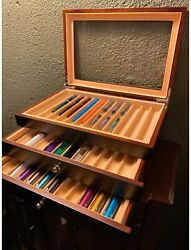 Sumunior Wooden Pen Display Storage Box 34 Fountain Pens With Glass Window