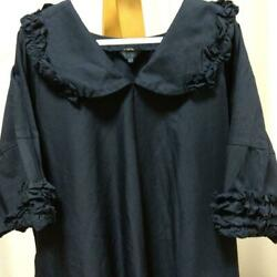 Comme Des Garcons Navy Long Frill Dresses Women Polyester Rr-o020 Size S Used