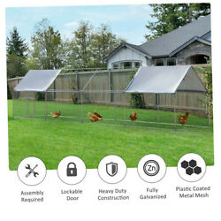 12.5ft Habitat In Poultry Cage Metal House Chicken Coop Large Hen Rabbits Cage