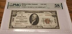 1929 National Bank Note Bellows Falls Vermont Pmg 58 Epq Ab Unc. Serial 62