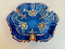 Blue Depression Glass Bowl Ashtray Rich Decorated With Flowers And Gold.