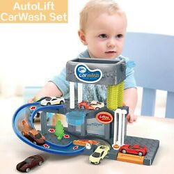 Automatic Lift Car Wash Set Toy With Color Changing Alloy Cars
