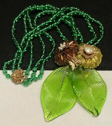 Miriam Haskell Necklace Rare Vintage Gilt Butterfly Green Glass Early Unsigned