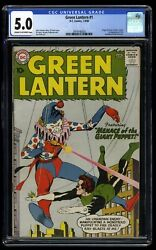 Green Lantern 1 Cgc Vg/fn 5.0 1st Guardians Of The Universe
