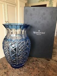 Waterford Crystal Vase Blue Color 12andrdquo Classic Shape With Box And Tags 950