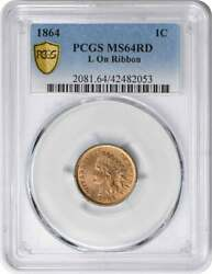 1864 Indian Cent L On Ribbon Ms64rd Pcgs