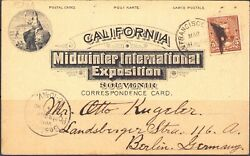 San Francisco Cal Midwinter International Exposition 1896 To Berlin Germany