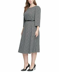 Calvin Klein Plus Size Belted Printed Dress