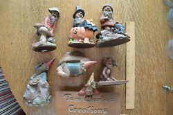 Lot Of 7 Tom Clark Gnomes Cornelia Witch/creation Sign/chip/greybeard/couch Pot