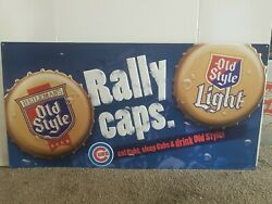 Old Style Beer Chicago Cubs Mlb Baseball Tin Bottle Caps Bar Sign Wrigley Field