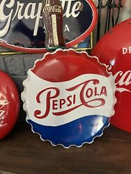 19.5 Inch Original Pepsi Button Sign Green Back With Touch Ups