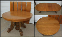 Antique 45 Carved Lion Paw Claw Foot Tiger Oak Dining Kitchen Table + 5 Leaves