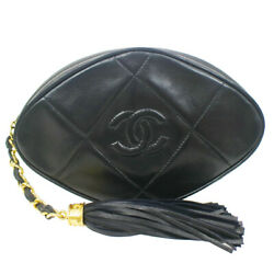 Quilted Fringe Cc Clutch Bag Pouch 1096135 Purse Black Lambskin 41539