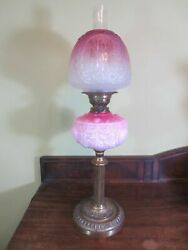 Antique Victorian Brass And Cranberry Glass Oil Lamp With Original Shade