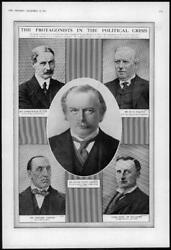 1916 Antique Print - Portraits Andrew Law Asquith Lloyd George Carson 218