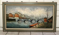 Perfect sofa size Mid Century modern oil on canvas by P.G Tiele great colors