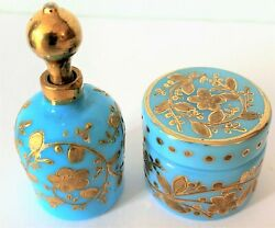 Antique Pair Of Czech /bohemian Turquoise Opaline Dressing Pot And Perfume Bottle
