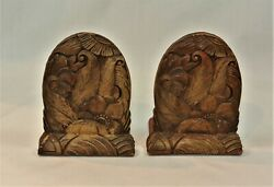 Vintage Ornawood Syrocco Bookends Pair Flowers And Leaves