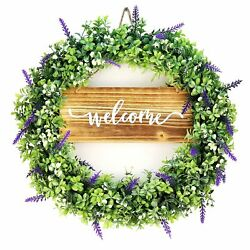 Farmhouse Front Door Wreaths For All Seasons -20 Artificial Lavender Boxwood
