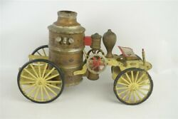 Antique Large Early Wilkins 11 Wind Up Fire Pumper Toy Working Motor