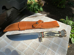 Marble's Gladstone, Mi Stag Hunting Knife 12.5 With 7 Blade Near Mint