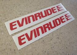 Evinrude Vintage Outboard Motor Decals 9 Red 2-pak Free Ship + Free Fish Decal