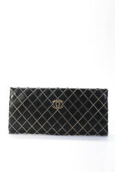 Multi Tone Chain Detail Quilted Leather Clutch Handbag Black